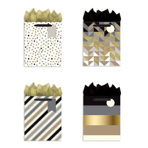 B-THERE Bundle of 4 Medium Party Gift Bags - Geometric Dots, Gold Silver Foil and Glitter Medium Gift Bags w/Tags & Tissue Paper