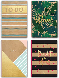 "B-THERE Bundle of 4 Kraft 5.7"" x 8.22"" Soft Cover Notebook Journal for Women and Men w/Dual Colored Kraft Paper"