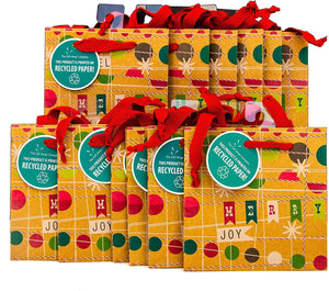 The Gift Wrap Company 12 Count Square Gift Bags, Petite, Christmas Design
