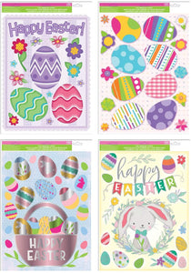 "B-THERE Bundle of Easter Decorations Classic Window Clings 12"" x 17"" with Eggs Basket and Bunny"
