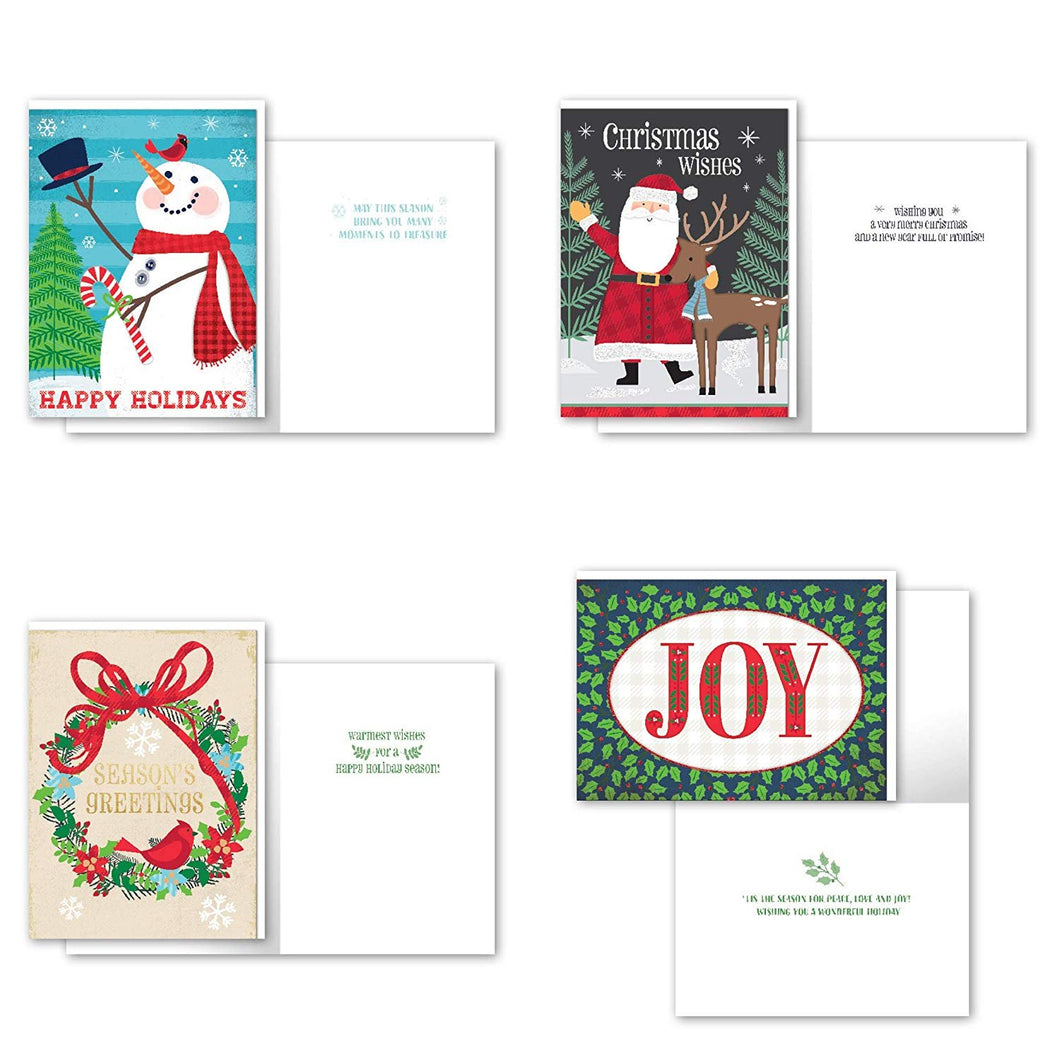 B-THERE Bundle of 12 Boxed Christmas Greeting Cards - Folk, Foil and Glitter Finishes with Envelopes