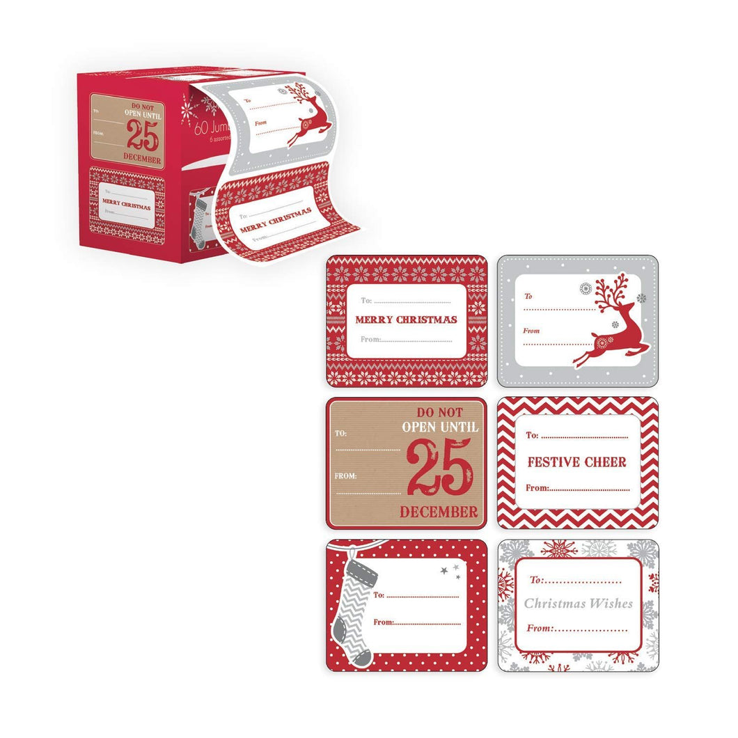 Jumbo Xmas Tag Stickers 60 Count Modern Red, White, Silver, and Gold Xmas Designs - Looks Great on Presents, Wrapping Paper and Gifting Bags