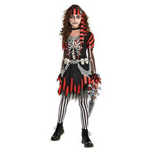 Load image into Gallery viewer, Amscan Girls Skele-Punk Pirate Costume - Medium (8-10) Black
