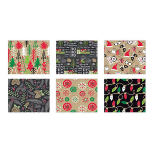 Bundle of 6 Rolls of Christmas Gift Wrapping Paper - Contemporary Kraft - 120 Total Sq Ft of Xmas Wrap