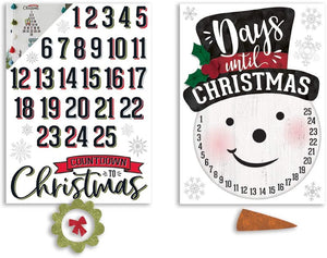 "B-THERE Bundle of Christmas Xmas Decorations 11.25"" x 17"" Adhesive Figure Countdown Decals, Winter Holiday Decorations with Glittered Accessory Pieces"