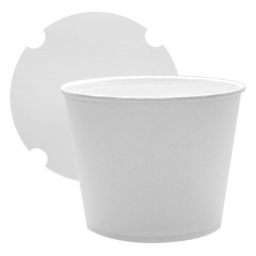 25 Count White Food Containers 130oz Large Food Buckets with Lids