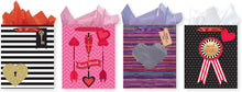 Load image into Gallery viewer, Pack of 4 Large Valentine's Gift Bags. Assortment of Foil and Glitter Embellishments
