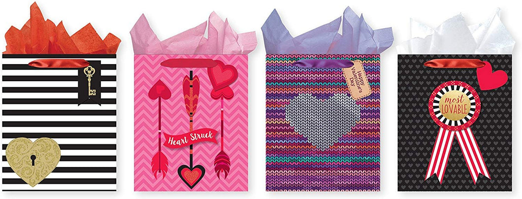 Pack of 4 Large Valentine's Gift Bags. Assortment of Foil and Glitter Embellishments