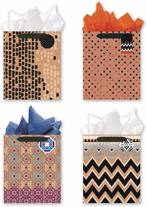 4 Large Party Gift Bags, All Occasion Gift Bags w/Glitter & Foil Designs - Set of 4 Gift Bags w/Tags & Tissue Paper