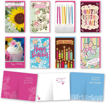 "Load image into Gallery viewer, Assorted Feminine Birthday Cards Bulk Card Set of 8 Cards with Envelopes. Large Handmade Cards 5"" x 8"" with Foil/Glitter Finishes"