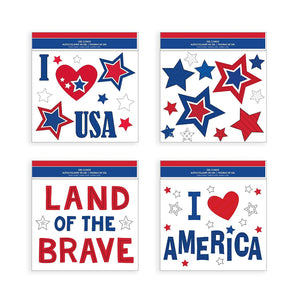 "B-THERE Bundle of USA July 4 Decorations 11.5"" x 12"" Window Gel Clings"