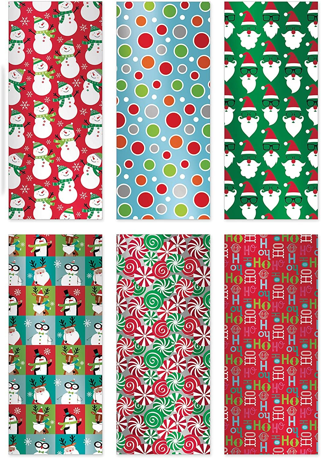 Christmas Gift Wrapping Paper Multi Pack of 6 Rolls of Gifting Wrap Xmas Gifts; Includes a Total of 180 sq. ft. of Wrap. *Foil Finishes* and Cheerful Designs to Draw Out The Holiday Spirit!