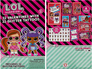 32 Count School Valentines Day Illustrated Cards with Matching Stickers or Tattoos (LOL Dolls)