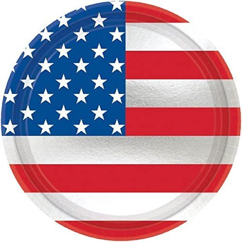 amscan Let Freedom Ring Dessert Plates Patriotic 4Th of July Party Disposable Tableware (Pack of 8), Multicolor, 7
