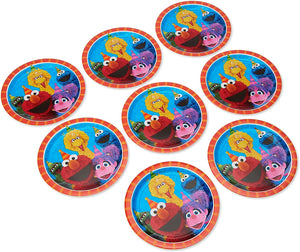 "Amscan 551672 Sesame Street Birthday, Round Paper Plates, 9"", 8 Ct."