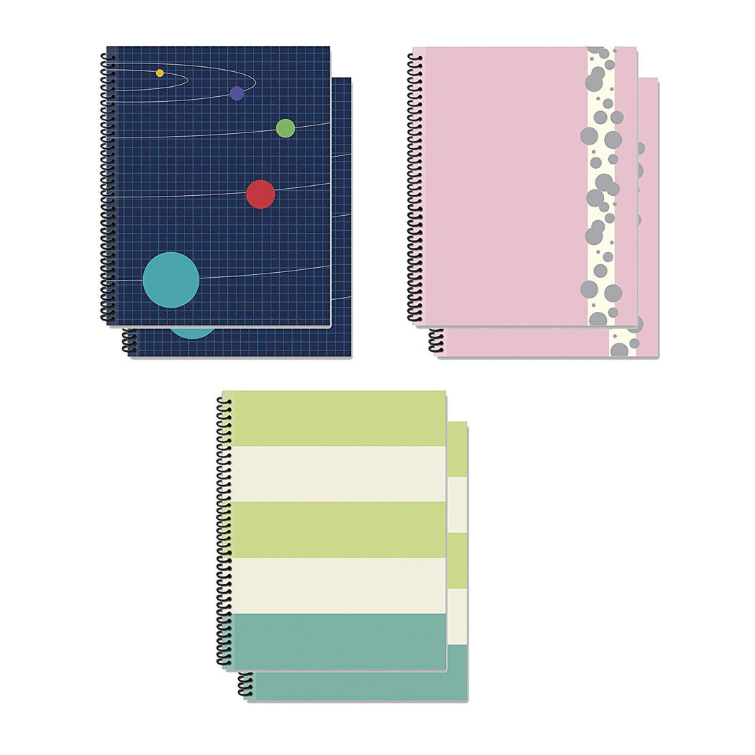 B-THERE Bundle of Spiral Bound Fat Notebooks - 6 Notebooks Total! 3 Different Designs Geometric - 4