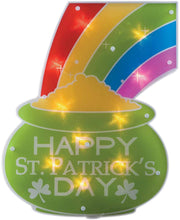 Load image into Gallery viewer, Impact Innovations St. Patrick's Day Shimmer Lighted Window Decoration Pot of Gold