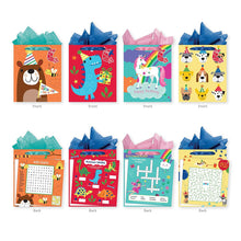 Load image into Gallery viewer, Pack of 4 Large Interactive Gift Bags with Tissure Paper Included