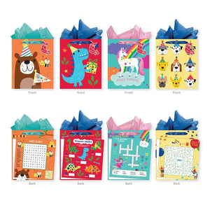 Pack of 4 Large Interactive Gift Bags with Tissure Paper Included