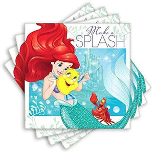 "Amscan Girls Enchanting Disney Ariel Dream Big Birthday Party Beverage Napkins (Pack Of 16), Green/Blue, 5"" x 5"""