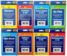 Load image into Gallery viewer, B-THERE Bundle of 8 School Zone Flash Cards, Pre-K - 4th Grade. Sight Words, Subtraction, Multiplication, Go Fish, Addition, Numbers, Colors & Shapes and Alphabet