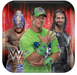 Party Pack B-There WWE for 16 Guests - 16 Dessert Plates and 40 Beverage Napkins John Cena, Ray Mysterio, Seth Rollins - Party Supplies