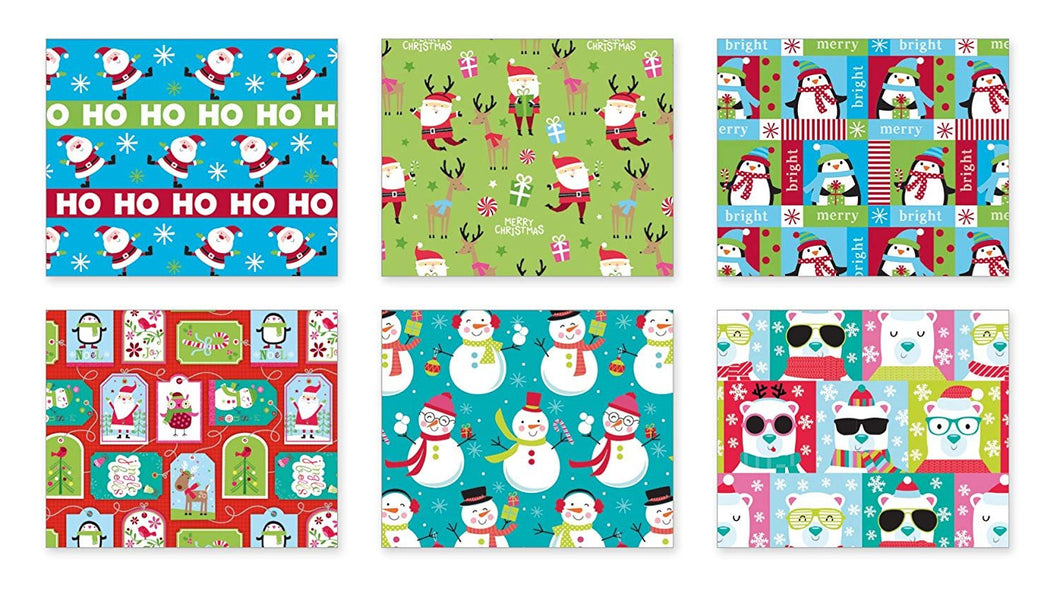 Christmas Gift Wrapping Paper Multi Pack of 6 Rolls of Gifting Wrap Xmas Gifts; Includes a Total of 240 sq. ft. of Wrap. Each Roll is a Different Design, No Duplicates!