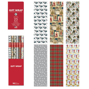 "Bundle of 6 Rolls of 30"" Christmas Holiday Traditional Gift-wrap Wrapping Paper, Santa Claus and Snowman, Trees, Snowflakes, Gifts, Plaid and Old Truck"