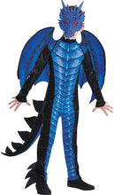 Load image into Gallery viewer, Amscan Black and Blue Dragon Halloween Costume for Boys, Includes Jumpsuit, Mask, Tail and Wings