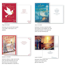 Load image into Gallery viewer, B-THERE Bundle of 12 Boxed Christmas Greeting Cards - Religous, Foil and Glitter Finishes with Envelopes - Includes KJV Scriptures