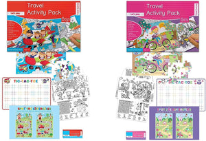 2 Travel Activity Packs 1 Boys & 1 Girls Each Containing 1 Puzzle, 2 Activity Sheets and 4 Crayons. Tic-Tac-Toe, Jigsaw Puzzle, Word Search, Coloring, Dot to Dot, Spot the Difference & More