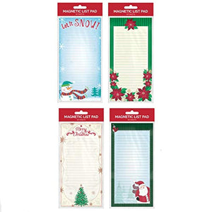 B-THERE Bundle of 4 Holiday Magnetic List Pads, Christmas Grocery Shopping List Pads, Shopping List