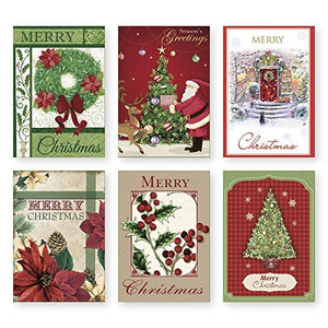 36 Count Boxed Christmas Cards - Bulk Holiday Cards with Envelopes. 6 Different Designs, 36 Cards Total