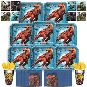 B-THERE Jurassic World Party Pack Bundle - Jurassic World Birthday Set, Seats 8: Plates, Cups, Napkins...