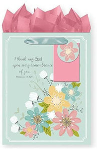 Bundle of 5 Religious Medium Party Gift Bags, Birthday Gift Bags with KJV Scripture, Tags and Tissue Paper