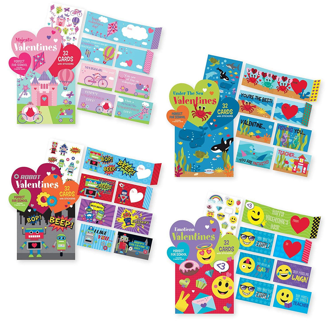 Kids Valentine's School Value Pack Cards (128 Valentine Cards Total). Perfect for School