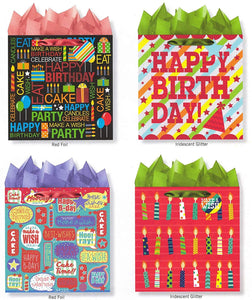Pack of 4 Large Happy Birthday Gift Bags. Assortment of Foil and Glitter Embellishments