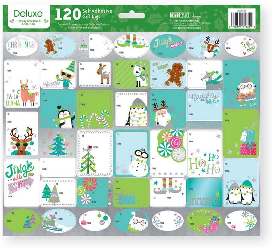 Paper Craft Deluxe Holiday Self Adhesive Gift Labels - 120 Count - Juvenile