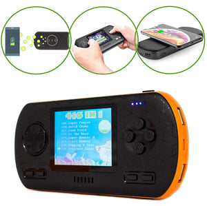 B-THERE Game Power Bank Console 3-in-1-416 Retro Video Games- Wireless Qi Charging - 8000mAh USB Portable Charger Battery - 2.8' Color Screen - for Phone, Tablet & More (Black & Orange)