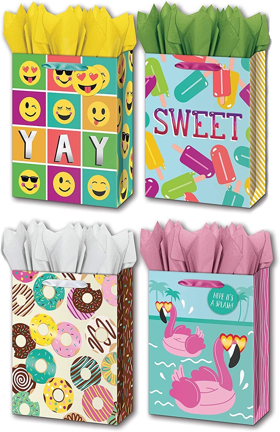 "B-THERE Bundle of 4 Large 10"" x 12"" x 5"" Gift Bags with Tags and Tissue for Men, Women, Girls and Boys for Birthday Party or Special Occasion"