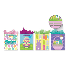 Pack of 4 Easter Foam Tip-On Gift Bags w/Tissue Paper - Large