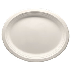 "Durable Eco-Friendly 12.5"" x 10"" Bagasse Plates(Oval) - Pack of 100 White Plates. Microwave Safe, Compostable, Made from Sugercane Fibers (100 Count)"
