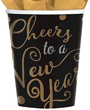 Load image into Gallery viewer, amscan Elegant New Year Party Cheers to a New Year Paper Cups, Black, 9 oz