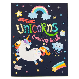B-THERE Unicorn Coloring Books for Kids Adults, and Teens Set of 4 Books with Stuffed Animal Keychain