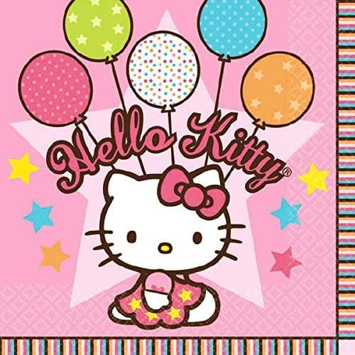 Amscan 509303 Beverage Napkins | Hello Kitty Balloon Dreams Collection | 16 pcs | Party Accessory