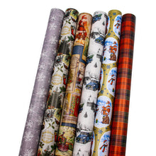 "Load image into Gallery viewer, Bundle of 6 Rolls of 30"" Christmas Holiday Traditional Gift-wrap Wrapping Paper, Santa Claus and Snowman, Trees, Snowflakes, Gifts, Plaid and Old Truck"