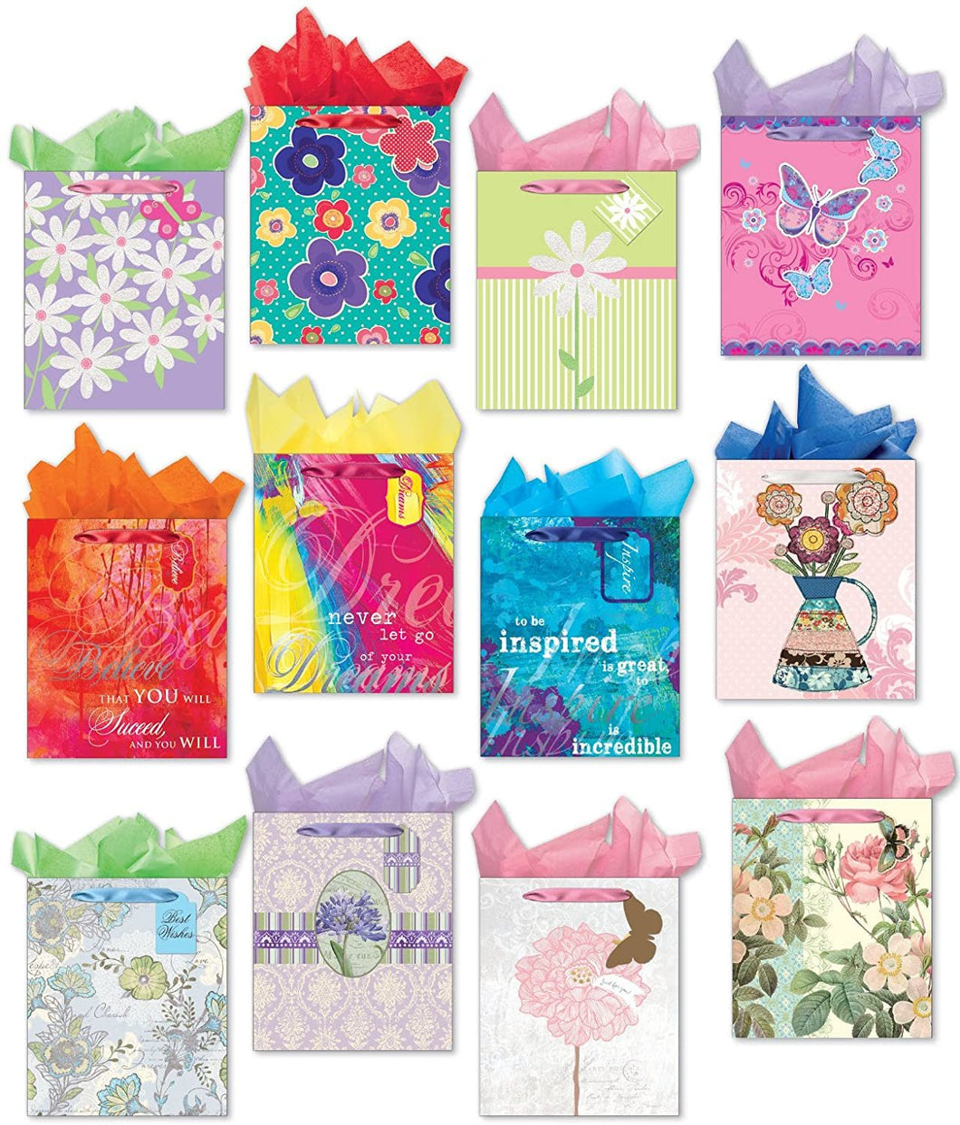 All Occasion Gift Bag Set of 12 Large Gift Bags Embellished with Glitter and Foil Including Packing Tissue Paper and Gift Bag Tags
