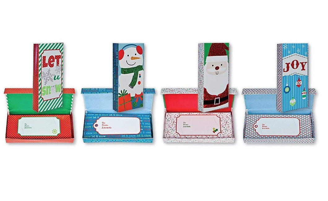 Glitter and Foil Finish Christmas Gift Card Holder Box for Small Gifts or Gift Cards with Snowman, Santa, Christmas Balls, Snowflakes