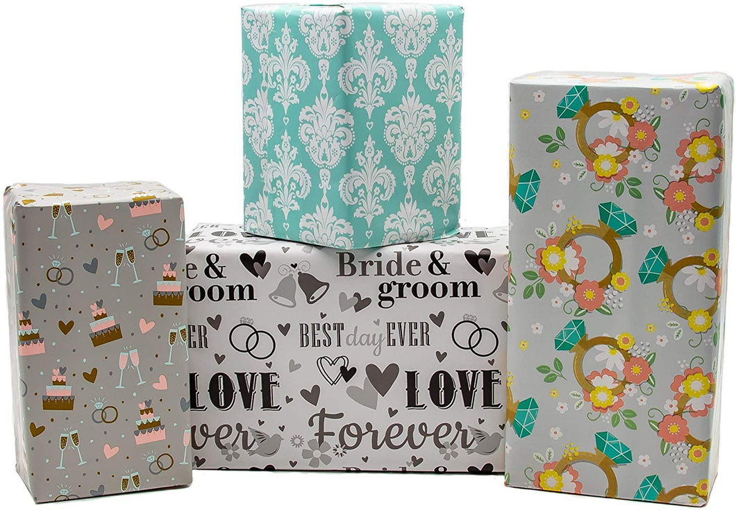 B-THERE Wedding Gift Wrap Wrapping Paper for Women, Men, Party, Adults. 4 Different Designs of 6 ft X 30 Roll! Includes Rings, Bells, Cake, Hearts, Love, Bride and Groom