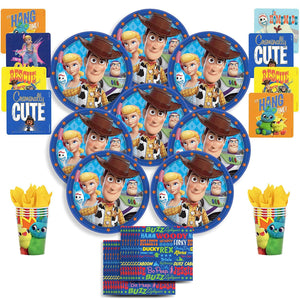 B-THERE Disney/Pixar Toy Story 4 Party Pack Bundle - Toy Story 4 Birthday Set, Seats 8: Plates, Cups,...